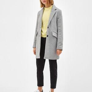 Bershka Gray Wool Coat Jacket Straight Cut Med Lar